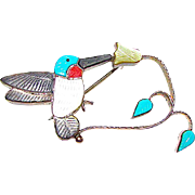 Zuni Andrea Lonjose Sterling Silver Turquoise Coral Shell MOP Humming Bird Flower Brooch/ Pin Pendant Figurals Brooch