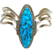 Native American Navajo Sterling Silver Kingman Mine Turquoise Statement Sand Cast Cuff Bracelet by Highly Collectible Navajo Artist Redwater. Museum Quality