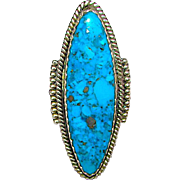 Native American Navajo Sterling Silver Kingman Mine Turquoise Statement Ring Size 8 by Highly Collectible Navajo Artist Redwater. Museum Quality