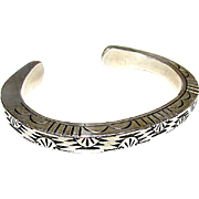 Navajo Sterling Silver Cuff Bracelet with Heavy Hand Etched Tribal Sun Symbols Cloud Rain Storm Design 57gr Artist Signed Wylie Secatero