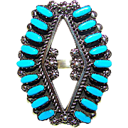 Vintage Zuni Sterling Silver Sleeping Beauty Mine Turquoise Statement Ring Size 8.5