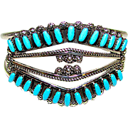 Vintage Zuni Sterling Silver Sleeping Beauty Mine Turquoise Statement Cuff Bracelet