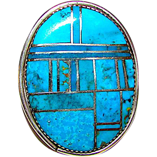 Vintage Navajo Sterling Silver Turquoise Channel Inlay Ring Size 8.5