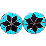 Zuni Sterling Silver Turquoise Black Jet Onyx Mosaic Inlay Post Earrings