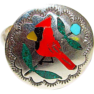 Zuni Quintin Quam Sterling Silver Coral Turquoise Inlay Cardinal Bird Ring Size 7 Native American Ring