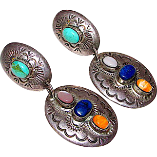Southwestern Native American Sterling Silver 925 Lapis Lazuli, Turquoise, Spiny Oyster Large Statement Dangle Pierced Earrings