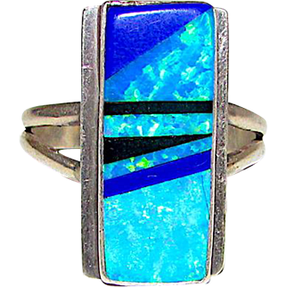 Vintage Navajo James Shay Sterling Silver Fire Opal Statement Ring Size 10 Channel Inlay Design