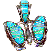Native American Navajo Tom Sam Sterling Silver Fire Opal Channel Inlay Butterfly Pendant