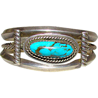 Vintage Old Pawn Navajo Sterling Silver Kingman Turquoise Cuff Bracelet 40 grams