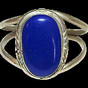 Mexican Sterling Silver 925 Lapis Lazuli Statement Cuff Bracelet 40 grams
