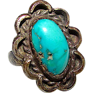 Old Pawn Navajo Sterling Silver Southwestern Mines Turquoise Ring size 7 Old and Rare