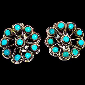 Old Pawn Zuni Sterling Silver Turquoise Rosette Cluster Clip On Earrings Snake Eye Design