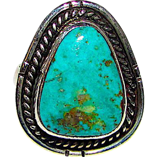Old Pawn Native American Navajo Sterling Silver Turquoise Ring Size 6