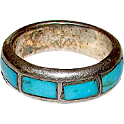 Native American Zuni Old Pawn Sterling Silver Sleeping Beauty Mine Turquoise Inlay Ring Band Size 9