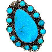 Navajo Dean Brown Sterling Silver Turquoise Large Statement Cluster Ring Size 6 Signed