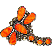 Native American Navajo Dean Brown Sterling Silver Orange Spiny Oyster Large Dragonfly Statement Ring Size 7