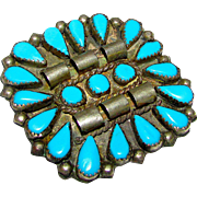 Old Pawn Navajo Sterling Silver Turquoise Rosette Cluster Brooch Pin