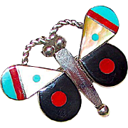 Vintage Zuni Sterling Silver Turquoise Coral Mother of Pearl Jet Inlay Butterly Pin Pendant Angus Ahiyite