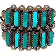 Old Pawn Native American Zuni Sterling Silver Cerrillos Mine Turquoise Cluster Ring Size 7