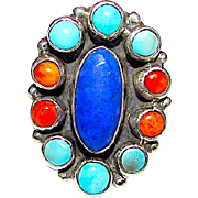 Native American Navajo Sterling Silver Lapis Lazuli Turquoise Coral Ring Size 7 by the Highly Collectible Artists Vernon & Clarissa Hale
