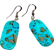 Native American Santo Domingo Sterling Turquoise Slab Dangle Earrings