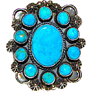 Navajo Dean Brown Sterling Silver Stormy Mountain Turquoise Cluster Large Statement Ring Size 7 Signed