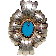 Old Pawn Native American Navajo Sterling Silver Turquoise Statement Ring Size 6 Squash Blossom Design