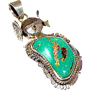 Navajo Sterling Silver Green Carico Lake Turquoise Kachina Maiden Pendant Highly Collectible Benny Ration Singed