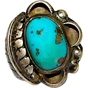 Old Pawn Navajo Sterling Silver Morenci MineTurquoise Statement Ring Size 6 Squash Blossom Design