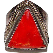 Vintage Old Pawn Native American Navajo Sterling Silver Mediterranean Coral Large Statement Modernist Ring Size 9 Arrowhead Design Rare
