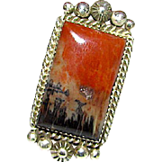Navajo Old Pawn Sterling Silver Petrified Wood Statement Ring Size 7.5 Ring Signed
