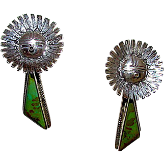 Navajo Sterling Silver Carico Lake Mine Green Turquoise Sunface Kachina Dangle Earrings Highly Collectible Bennie Ration Singed