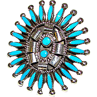 Vintage Old Pawn Native American Zuni Sterling Silver Sleeping Beauty Turquoise Needlepoint Design Cluster Ring Size 7