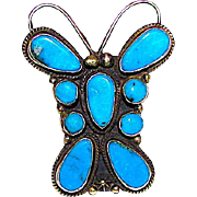 Native American Navajo Dean Brown Sterling Silver Morenci Turquoise Large Butterfly Statement Ring Size 8