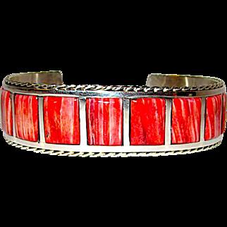 Vintage Navajo Angela Gasper Sterling Silver Red Spiny Oyster Cuff Bracelet Native American Signed Bracelet