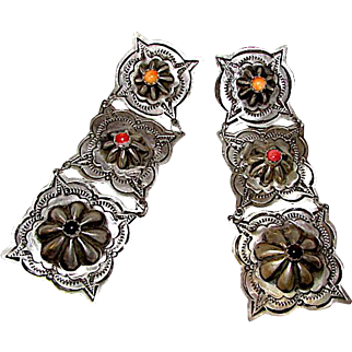 Native American Navajo Sterling Silver Spiny Oyster Concho Design Pierced Dangle Statement Earrings Rob Livingston Signed
