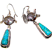 Navajo Sterling Silver Kingman Turquoise Kachina Maiden Dangle Earrings Highly Collectible Bennie Ration Singed