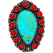 Navajo Tom Billy Sterling Silver Turquoise Coral Cluster Large Statement Ring Size 8 Signed