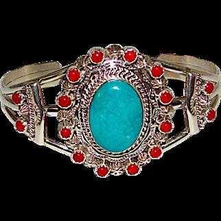 Vintage Zuni American Sterling Silver Royston Mine Turquoise Coral Cluster Statement Cuff Bracelet Snake Eye Design Signed