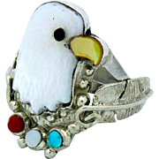 Vintage Native American Zuni Sterling Silver Mother Of Pearl Turquoise Coral Inlay Eagle Ring Size 7