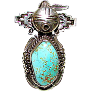 Navajo Sterling Silver Dry Creek Turquoise Kachina Ring Size 6.5 Highly Collectible Benny Ration Singed