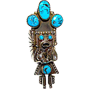 Native American Old Pawn Navajo Sterling Silver Kingman Mine Turquoise Kachina Ring Size 7.5 Rare