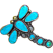 Native American Navajo Dean Brown Sterling Silver Morenci Turquoise Large Dragonfly Statement Ring Size 8.5
