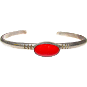 Vintage Native American Navajo Sterling Silver Coral Cuff Bracelet by Everett and Mary Teller