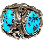 Old Pawn Navajo Men Sterling Silver Kingman Turquoise Large Statement Ring Size 10.5 Squash Blossom Design