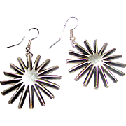 Native American Navajo Sterling Silver Sun Design Contemporary Pierced Dangle Statement Earrings by Collectible Leonard Maloney