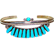 Zuni Sterling Silver Sleeping Beauty Mine Turquoise Cluster Rosette Design Bracelet by Collectible Jimmie Etsate