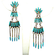 Zuni Sterling Silver Sleeping Beauty Mine Turquoise Dangle Statement Chandelier Earrings 4 Tier Design