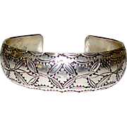 Navajo Sterling Silver Cuff Bracelet Hand Etched Tribal Design Highly Collectible Justin Wilson