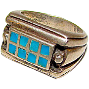 Native American Old Pawn Navajo Sterling Silver Turquoise Men Ring Size 9